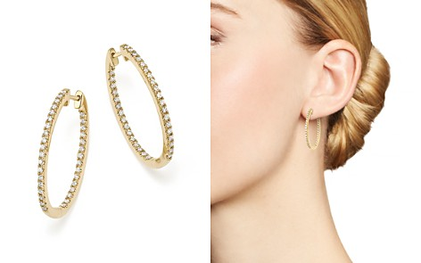 Diamond Oval Hoops in 14K Yellow Gold, .60 ct. t.w. - 100% Exclusive - Bloomingdale's_2