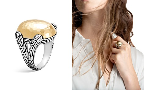 John Hardy Sterling Silver and 18K Bonded Gold Classic Chain Hammered Large Oval Ring - Bloomingdale's_2