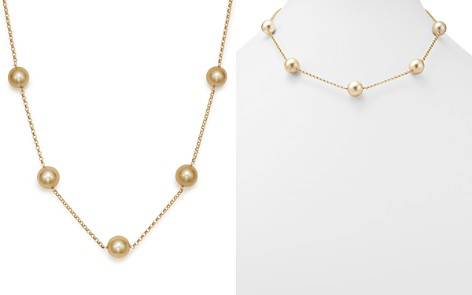 "Cultured South Sea & Natural Color Golden Pearl Tin Cup Necklace in 14K Yellow Gold, 18"" - 100% Exclusive - Bloomingdale's_2"