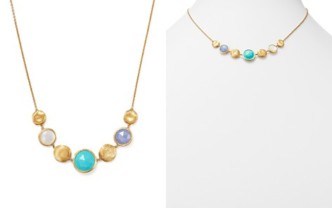 Marco Bicego 18K Yellow Gold Jaipur Half Collar Necklace with Turquoise, Mother-Of-Pearl and Chalcedony - 100% Exclusive - Bloomingdale's_2