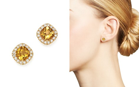 Citrine Cushion Cut and Diamond Stud Earrings in 14K Yellow Gold - 100% Exclusive - Bloomingdale's_2