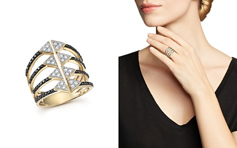 Black and White Diamond Micro Pavé Statement Ring in 14K Yellow Gold - 100% Exclusive - Bloomingdale's_2