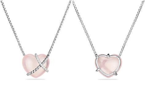 David Yurman Le Petit Coeur Sculpted Heart Chain Necklace with Milky Rose Quartz and Diamonds - Bloomingdale's_2