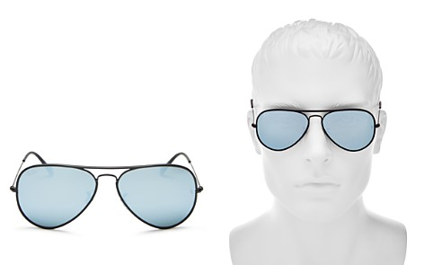 Ray-Ban Mirrored Brow Bar Aviator Sunglasses, 58mm - 100% Exclusive - Bloomingdale's_2