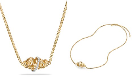 David Yurman Crossover Single Station Necklace with Diamonds in 18K Gold - Bloomingdale's_2