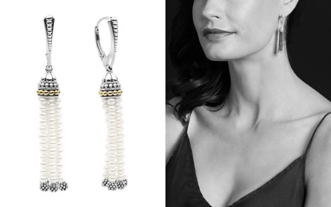Lagos 18k Gold And Sterling Silver Caviar Icon Cultured Freshwater Pearl Tel Drop Earrings Bloomingdale