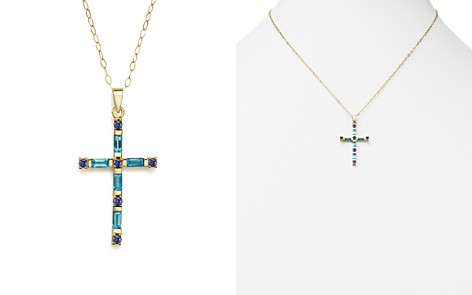 """Blue Topaz and Iolite Cross Pendant Necklace in 14K Yellow Gold, 16"""" - 100% Exclusive - Bloomingdale's_2"""