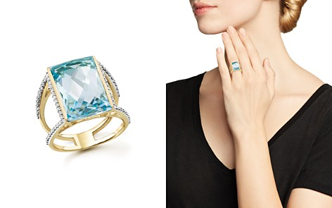 Blue Topaz Statement Ring with Diamonds in 14K Yellow Gold - 100% Exclusive - Bloomingdale's_2