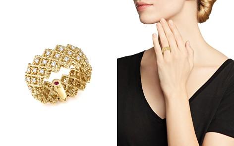Roberto Coin 18K Yellow Gold New Barocco Three Row Diamond Ring - Bloomingdale's_2