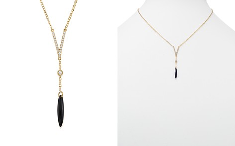 """Diamond Y Necklace with Black Agate Pendant in 14K Yellow Gold, 18"""" - 100% Exclusive - Bloomingdale's_2"""