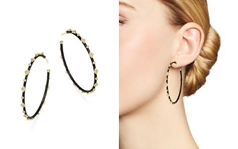 Armenta 18K Yellow Gold and Blackened Sterling Silver Old World Midnight Diamond Hoop Earrings - Bloomingdale's_2