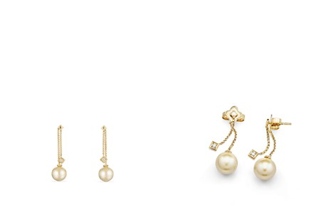 David Yurman Solari Ear Jackets in 18K Gold with Diamonds and Cultured South Sea Yellow Pearl - Bloomingdale's_2