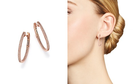 Diamond Inside Out Oval Hoop Earrings in 14K Rose Gold, .50 ct. t.w. - 100% Exclusive - Bloomingdale's_2