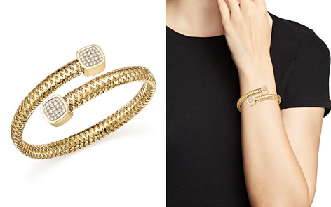 Roberto Coin 18K Yellow Gold Primavera Diamond Capped Bangle - Bloomingdale's_2