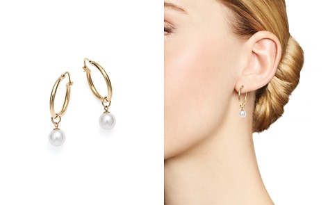MATEO 14K Yellow Gold Pearl Charm Hoop Earrings - Bloomingdale's_2