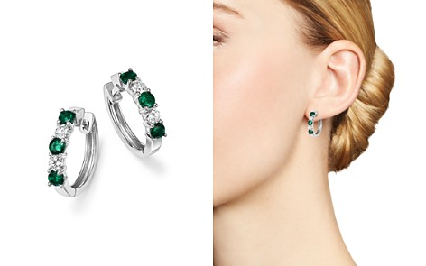 Emerald and Diamond Hoop Earrings in 14K White Gold - 100% Exclusive - Bloomingdale's_2