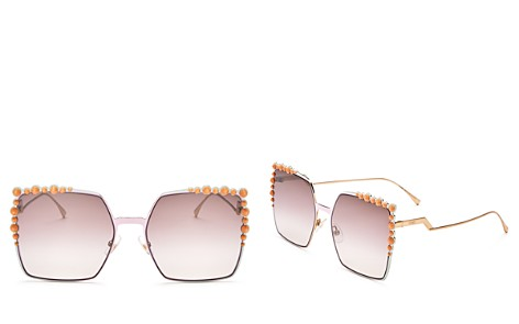 Fendi Women's Square Embellished Sunglasses, 60mm - Bloomingdale's_2