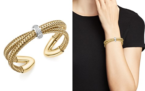 Roberto Coin 18K White and Yellow Gold Primavera Diamond Cuff Bracelet - 100% Exclusive - Bloomingdale's_2