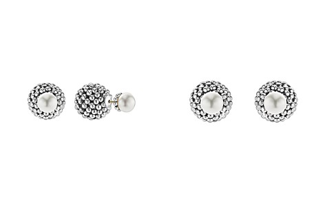 LAGOS Sterling Silver Signature Caviar Cultured Freshwater Pearl Front-Back Earrings - Bloomingdale's_2