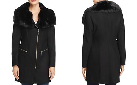 Via Spiga Asymmetric Zip Faux Fur Trim Coat - Bloomingdale's_2