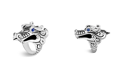John Hardy Sterling Silver Naga Ring with Black Sapphire, Black Spinel and Blue Sapphire Eyes - Bloomingdale's_2