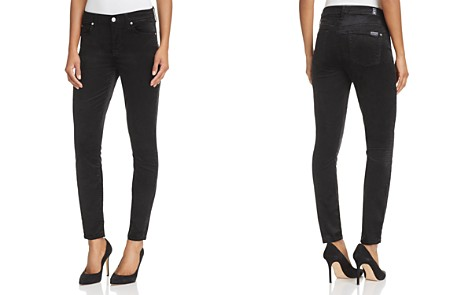 7 For All Mankind Skinny Ankle Velvet Jeans in Black - Bloomingdale's_2
