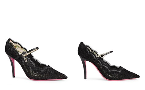 Gucci Virginia Leather and Lace Mary Jane Pointed Toe Pumps - Bloomingdale's_2