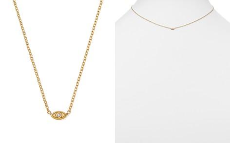 "Zoë Chicco 14K Yellow Gold Itty Bitty Diamond Evil Eye Necklace, 16"" - Bloomingdale's_2"