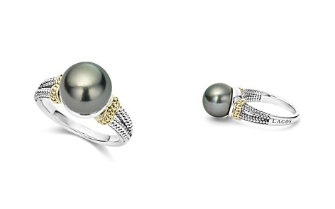 LAGOS 18K Gold and Sterling Silver Luna Cultured Tahitian Pearl Ring - Bloomingdale's_2
