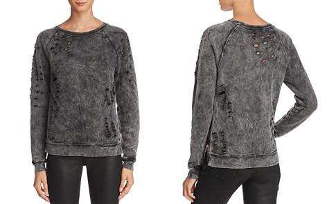 Black Orchid Distressed Side Zip Sweatshirt - Bloomingdale's_2