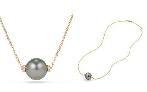 David Yurman Solari Single Station Necklace in 18K Gold with Diamonds and Tahitian Gray Pearl - Bloomingdale's_2