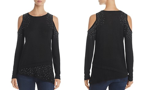 Design History Studded Cold Shoulder Asymmetric Sweater - Bloomingdale's_2
