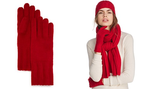 C by Bloomingdale's Ribbed Cashmere Gloves - 100% Exclusive_2