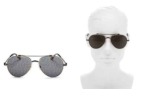 Givenchy Mirrored Print Aviator Sunglasses, 58mm - Bloomingdale's_2
