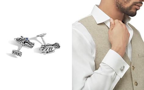 John Hardy Men's Sterling Silver Legends Naga Cufflinks with Sapphire Eyes - Bloomingdale's_2