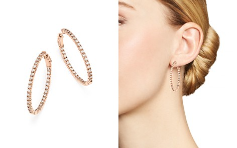 Bloomingdale's Diamond Inside Out Oval Hoop Earrings in 14K Rose Gold, 2.0 ct. t.w - 100% Exclusive _2