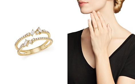 KC Designs 14K Yellow Gold Mosaic Diamond Double Bar Ring - Bloomingdale's_2