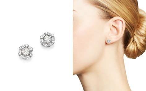 Bloomingdale's Diamond Round & Baguette Stud Earrings in 14K White Gold, .50 ct. t.w. - 100% Exclusive_2