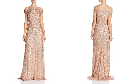 Adrianna Papell Off-the-Shoulder Sequined Gown - Bloomingdale's_2