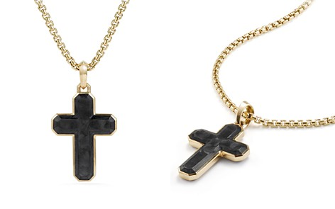 David Yurman Men's Forged Carbon Cross Tag with 18K Gold - Bloomingdale's_2