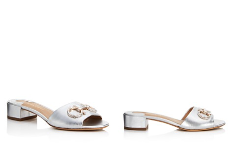 Salvatore Ferragamo Women's Metallic Leather & Swarovski Crystal Slide Sandals - Bloomingdale's_2