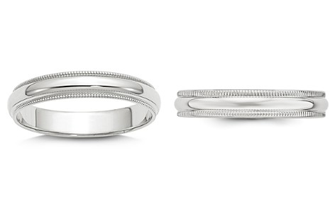 Bloomingdale's Men's 4mm Half Round Milgrain Band 14K White Gold - 100% Exclusive_2