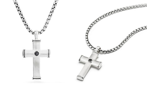 David Yurman Streamline Cross Tag with Black Diamonds - Bloomingdale's_2