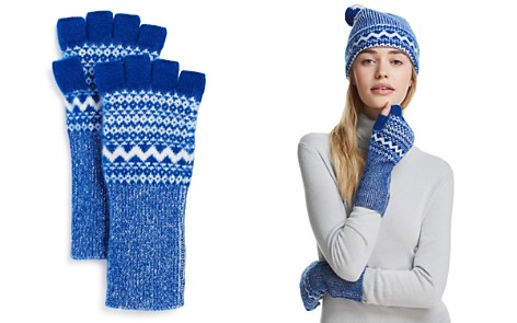 Burberry Fair Isle Cashmere Fingerless Gloves - Bloomingdale's_2