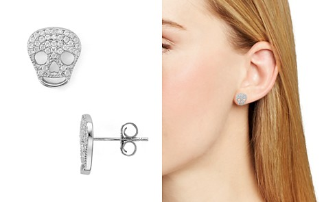 AQUA Sterling Silver Skull Stud Earrings - 100% Exclusive - Bloomingdale's_2