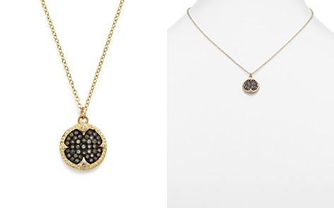 """Armenta 18K Yellow Gold & Blackened Sterling Silver Old World Pavé Champagne Diamond Carved Disc Pendant Necklace, 16"""" - Bloomingdale's_2"""