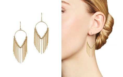 Bloomingdale's Large Teardrop & Chain Fringe Earrings in 14K Yellow Gold - 100% Exclusive_2