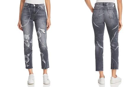 Hudson Zoeey Straight Jeans in Noir in Bloom - Bloomingdale's_2