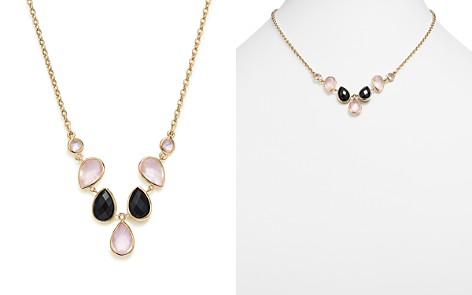 """Bloomingdale's Rose Quartz & Onyx Necklace in 14K Yellow Gold, 18"""" - 100% Exclusive _2"""