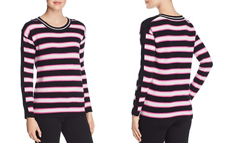 Minnie Rose Button-Sleeve Striped Cashmere Sweater - Bloomingdale's_2